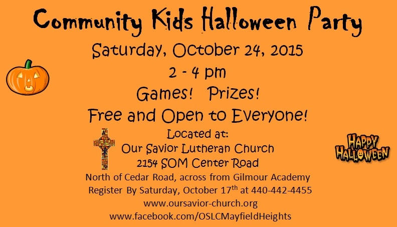 2015 Community Kids Halloween Party Flyer